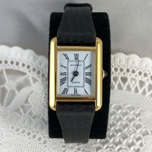 Movado Ladies Classic Tank Watch with Movado Strap